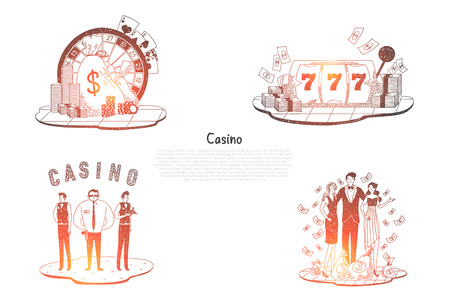 Casino - people with money, security, cards, roulette and chips vector concept set. Hand drawn sketch isolated illustration Illustration