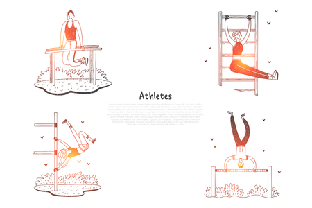 Athletes - people doing exercises outdoors with special equipment vector concept set. Hand drawn sketch isolated illustration