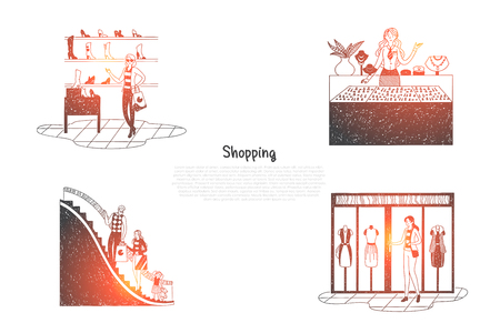 Shopping - people in trade centers looking at shop windows and making purchases vector concept set. Hand drawn sketch isolated illustration Illustration