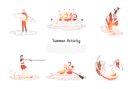 Summer activity - people doing water activities surfing, water skiing, sailing, riding banana and boat in summer vector concept set. Hand drawn sketch isolated illustration