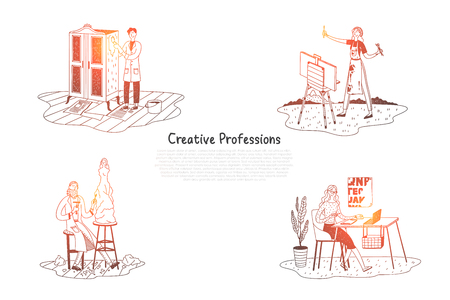Creative professions - painter, designer, sculptor vector concept set. Hand drawn sketch isolated illustration