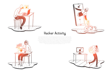 Hacker activity - hackers trying to destroy digital systems and get information vector concept set. Hand drawn sketch isolated illustration 일러스트