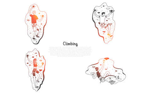 Climbing - people climbing artificial hills vector concept set. Hand drawn sketch isolated illustration