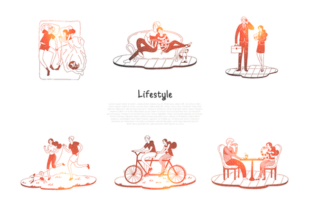 Lifestyle - couple riding bicycles, sleeping, resting on sofa, working, walking dog together vector concept set. Hand drawn sketch isolated illustration
