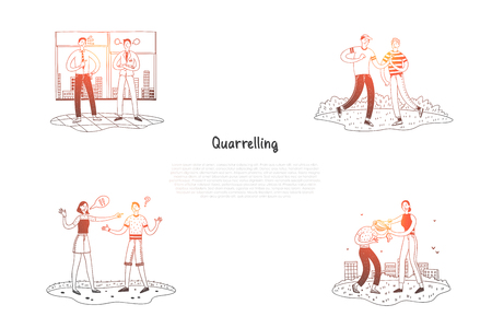 Quarrelling - friends, couples and colleagues quarreling on street and in office vector concept set. Hand drawn sketch isolated illustration