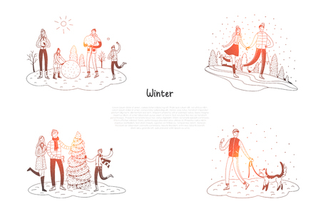 Winter - people walking dog, enjoying winter park, decorating new year tree, making snowballs vector concept set. Hand drawn sketch isolated illustration