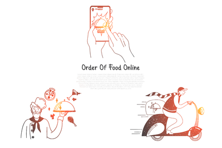 Order of food online - ordering food from mobile phone and delivery vector concept set. Hand drawn sketch isolated illustration Illustration