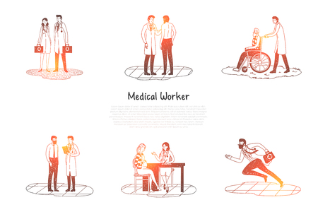 Medical worker - medical workers taking care of patients and hurriyng up to emergency calls vector concept set. Hand drawn sketch isolated illustration Illustration