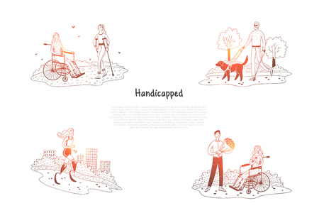 Handicapped - disabled and blind people walking in park and making sports vector concept set. Hand drawn sketch isolated illustration