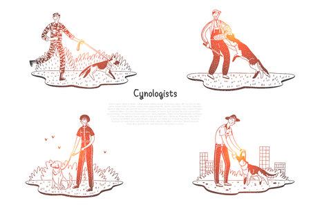 Cynologists - special people walking and training dogs vector concept set. Hand drawn sketch isolated illustration