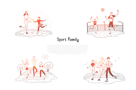 Sport family - family skating, playing football, doing yoga, roller skating together vector concept set. Hand drawn sketch isolated illustration Illustration