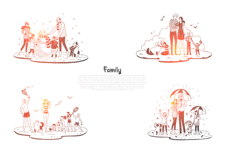 Family - parents and children walking and playing with each other in all seasons vector concept set. Hand drawn sketch isolated illustration Illustration