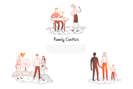 Family conflict - people having difficult situations and quarrelling in family vector concept set. Hand drawn sketch isolated illustration 向量圖像