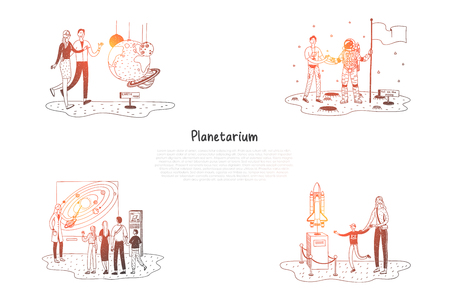 Planetarium - people in planetarium looking at exhibitions and presentations vector concept set. Hand drawn sketch isolated illustration