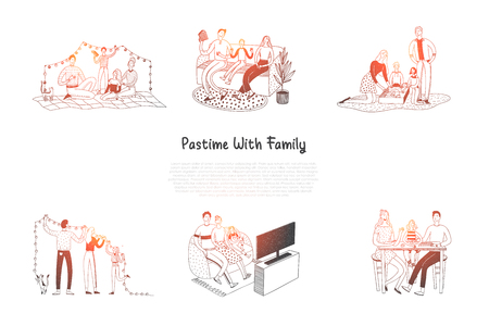 Pastime with family - families reading, having rest, watching TV, decorating flat, playing games, taking care of pets together vector concept set. Hand drawn sketch isolated illustration