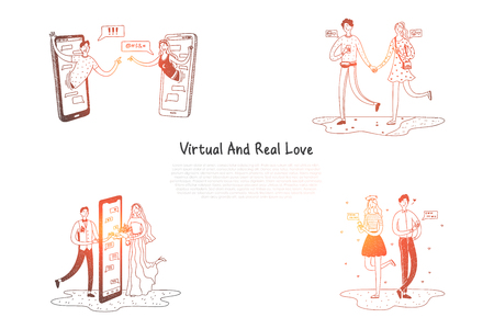 Virtual and real love - couples having relationships via internet vector concept set. Hand drawn sketch isolated illustration Illustration