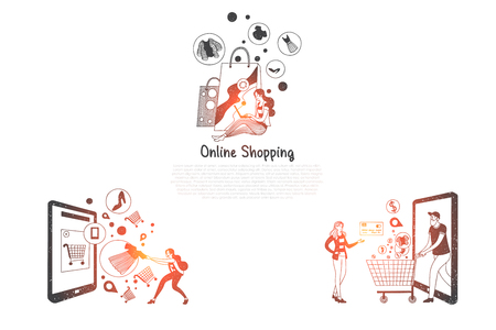 Online shopping - people ordering and making purchase via mobile shopping vector concept set. Hand drawn sketch isolated illustration Illustration