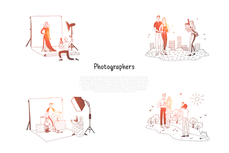 Photographers - photographers making photoes of people in studio and on street vector concept set. Hand drawn sketch isolated illustration