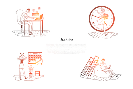 Deadline - frustrated and stressed people thinking about work deadline vector concept set. Hand drawn sketch isolated illustration Ilustração