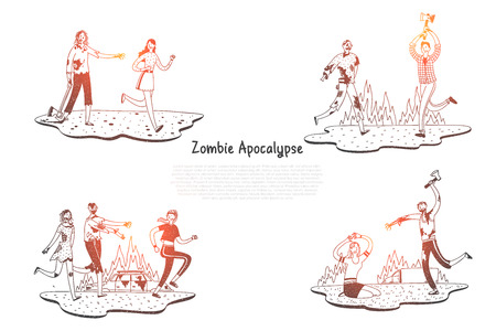 Zombie apocalypse - zombies scarying and fighting with people vector concept set. Hand drawn sketch isolated illustration