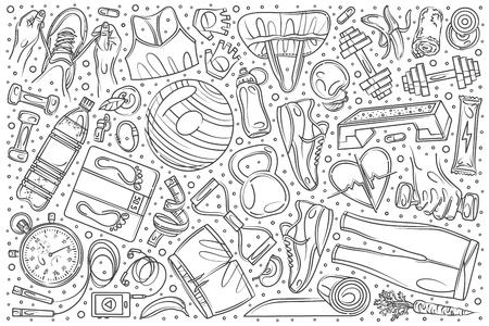 Hand drawn fitness training set doodle vector illustration background Illustration