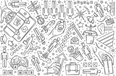 Hand drawn career set doodle vector illustration background