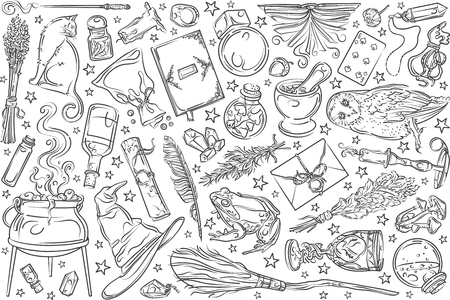 Hand drawn magic tools, concept of witchcraft. Broom and playing cards, hat and needle equipment doodle set background