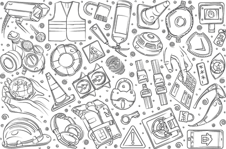 Hand drawn security-related equipment. Protection technologies fingerprint, electronic key, spy, password, alarm and more doodle set background