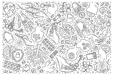 Hand drawn psychologist set doodle vector illustration background