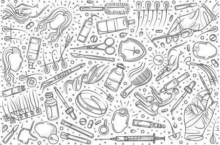 Hand drawn set doodle vector illustration background