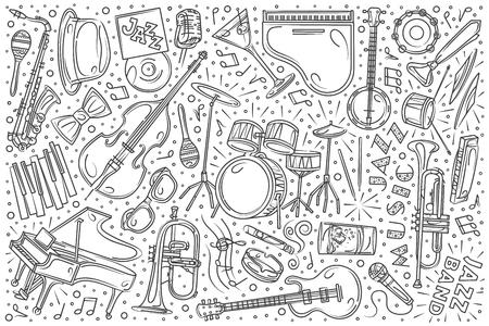 Hand drawn Jazz festival set doodle vector illustration background Illustration
