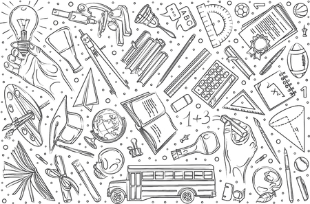 Hand drawn education set doodle vector illustration background