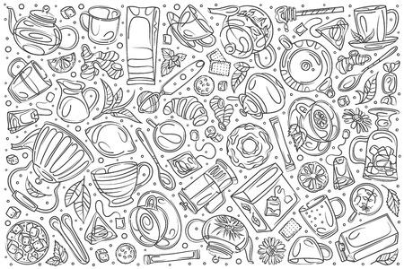 Hand drawn coffee shop set doodle vector illustration background