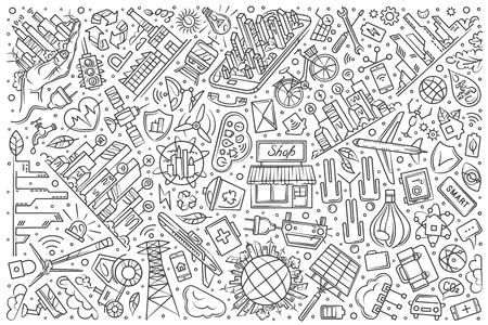 Hand drawn smart city set doodle vector illustration background Illustration