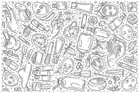 Hand drawn cosmetology set doodle vector illustration background