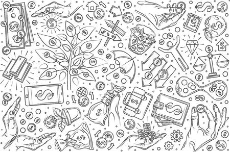 Hand drawn investment set doodle vector illustration background