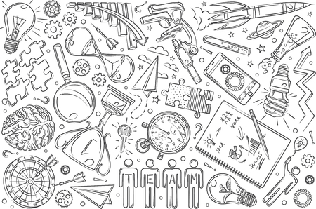 Hand drawn objects, concept of team communications. Rocket, brain, compass, magnifying glass doodle set background Illustration