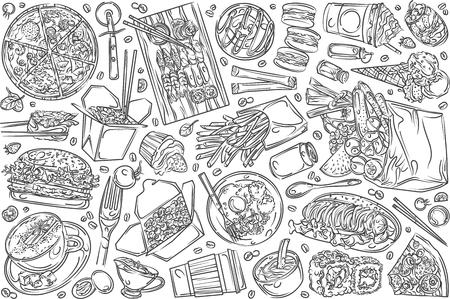 Hand drawn restaurant food, or cafe menu. Pizza, sushi, cup of coffee, fries, burger etc doodle set background Illustration