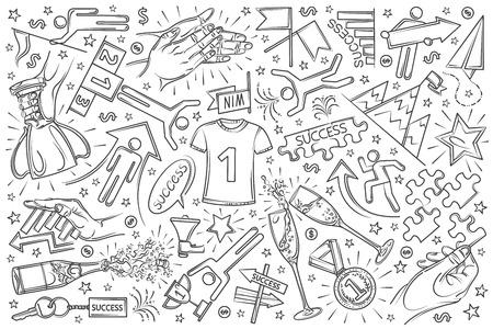 Hand drawn success set doodle vector illustration background