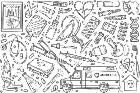 Hand drawn helthcare set doodle vector illustration background