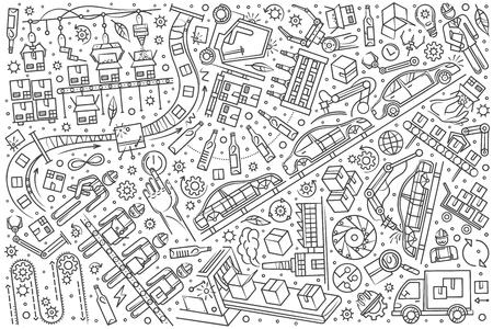 Hand drawn production line set doodle vector illustration background