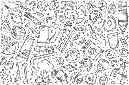 Hand drawn saving water set doodle vector illustration background