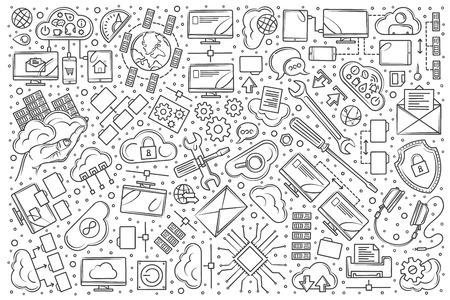 Hand drawn hosting set doodle vector illustration background