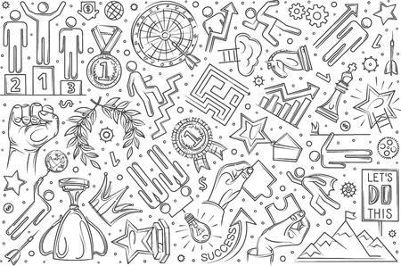 Hand drawn motivation set doodle vector illustration background Illustration