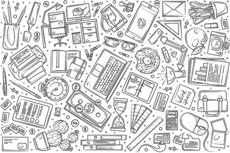 Hand drawn freelancing set doodle vector illustration background