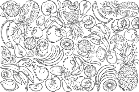 Hand drawn different fruits banana, pineapple, apple, pear etc. Kiwi, peach and apricot doodle set background