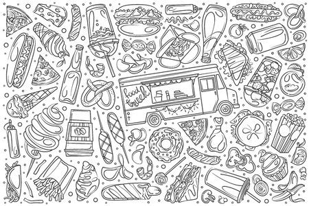 Hand drawn food truck set doodle vector illustration background Illustration