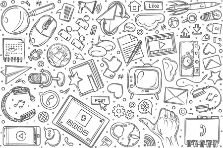 Hand drawn social media set doodle vector illustration background Illustration
