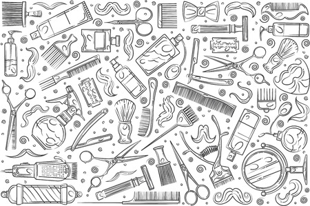 Hand drawn hairdresser tools. Hair styling related equipment doodle set background