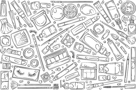 Hand drawn make up supplies and tools. Beauty symbols collection equipment doodle set background Illustration